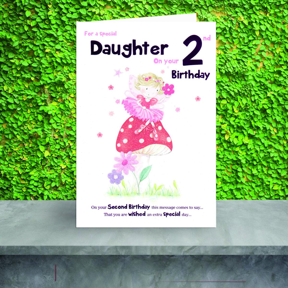 Daughter Age 2 Birthday Card Sat On A Display Shelf