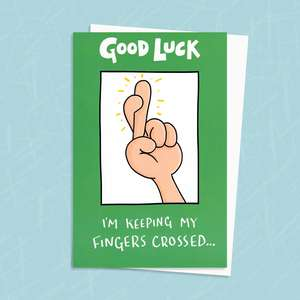 Good Luck Card With Cartoon Hand With Its Fingers Crossed