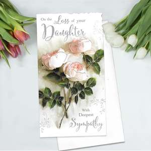 Loss Of Daughter Sympathy Card Alongside Its White Envelope