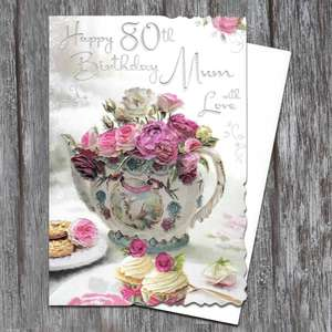 Mum Age 80 Birthday Card Alongside Its White Envelope