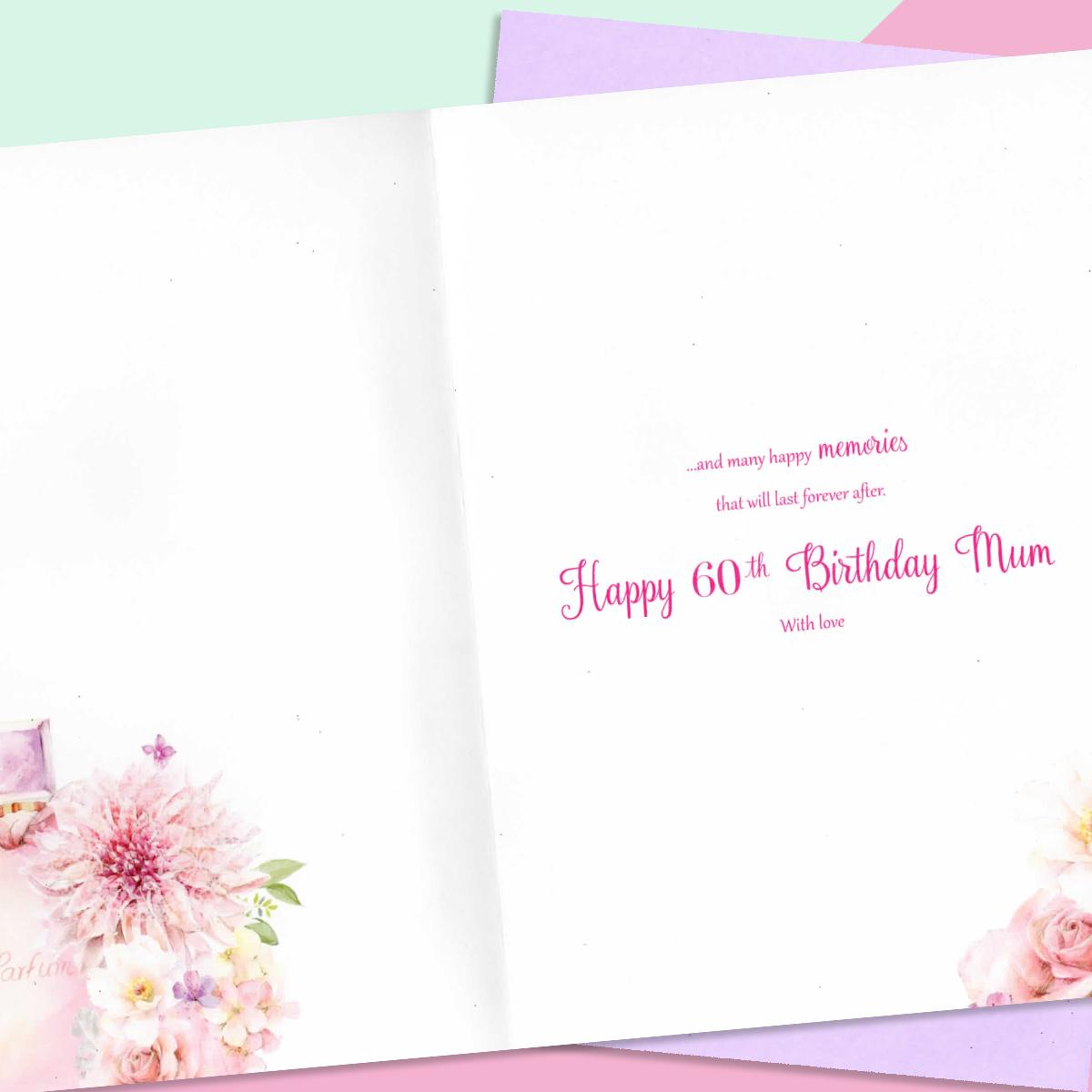 Inside Image Of 60th Mum Card Showing Layout And Printed Text