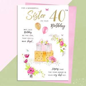 Sister Age 40 Birthday Card Alongside Its Envelope