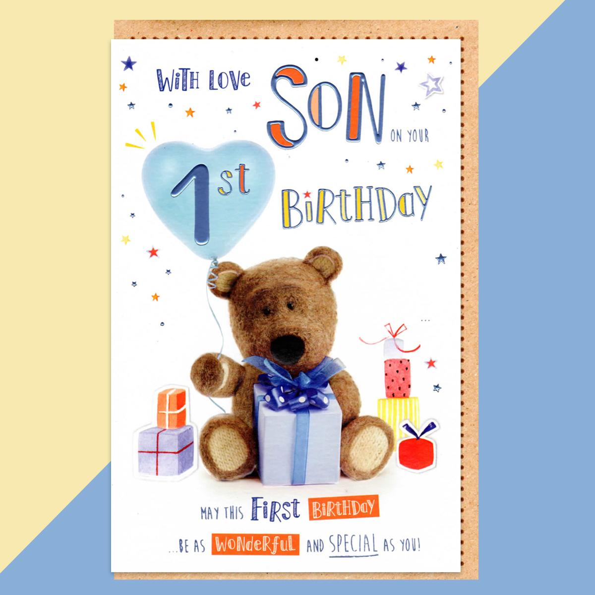 Son Age 1 Birthday Card Alongside Its Kraft Envelope
