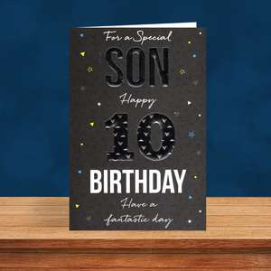Son Age 10 Birthday Card Sitting On A Display Shelf