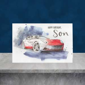 Son Sports Car Birthday Card Sat On A Display Shelf