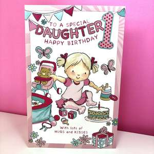 Daughter Age 1 Birthday Card Sitting On A Display Shelf