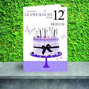 Special Granddaughter Age 12 Birthday Card Sitting On A Display Shelf