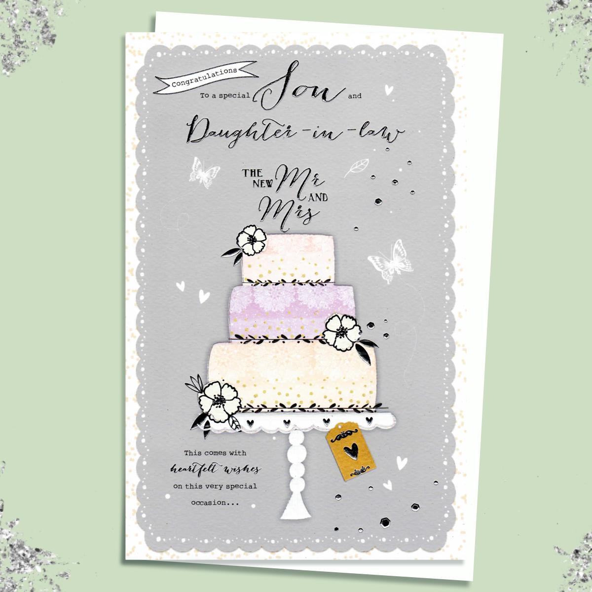 Son And Daughter Wedding Card Sitting On A Display Shelf