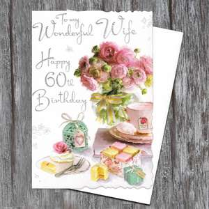 Wife Age 60 Birthday Card Alongside Its White Envelope