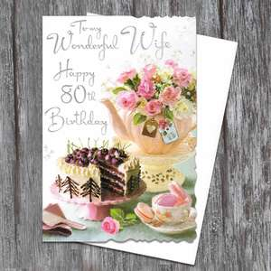 Wife Age 80 Birthday Card Alongside Its White Envelope