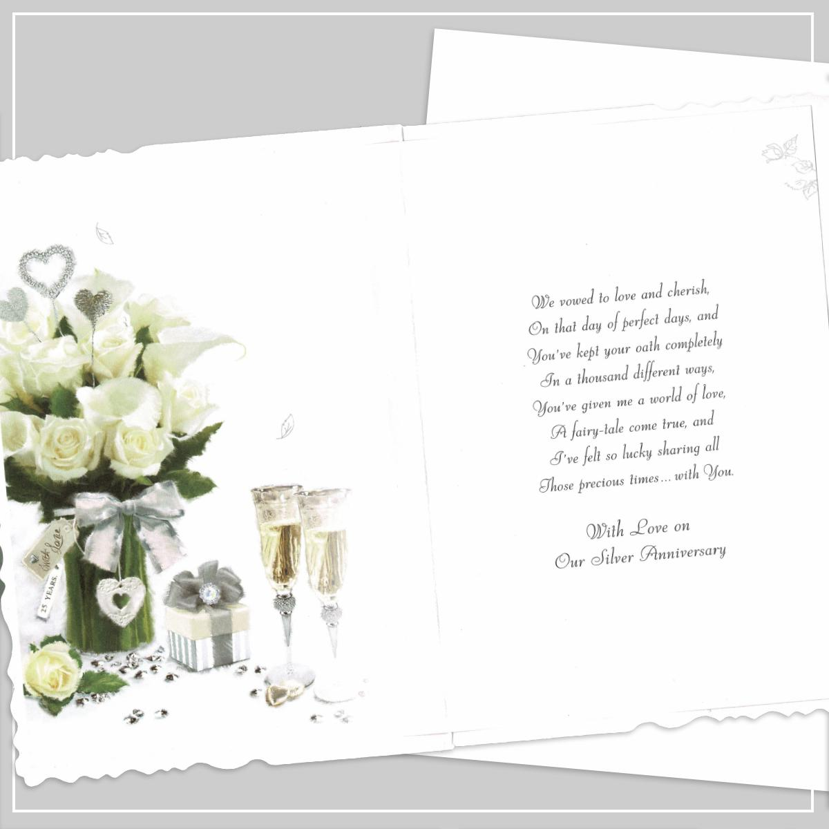 Inside Of Wife 25th Anniversary Card Showing Layout And Printed Text