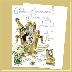 Husband On Our Golden Anniversary Card Alongside Its White Envelope