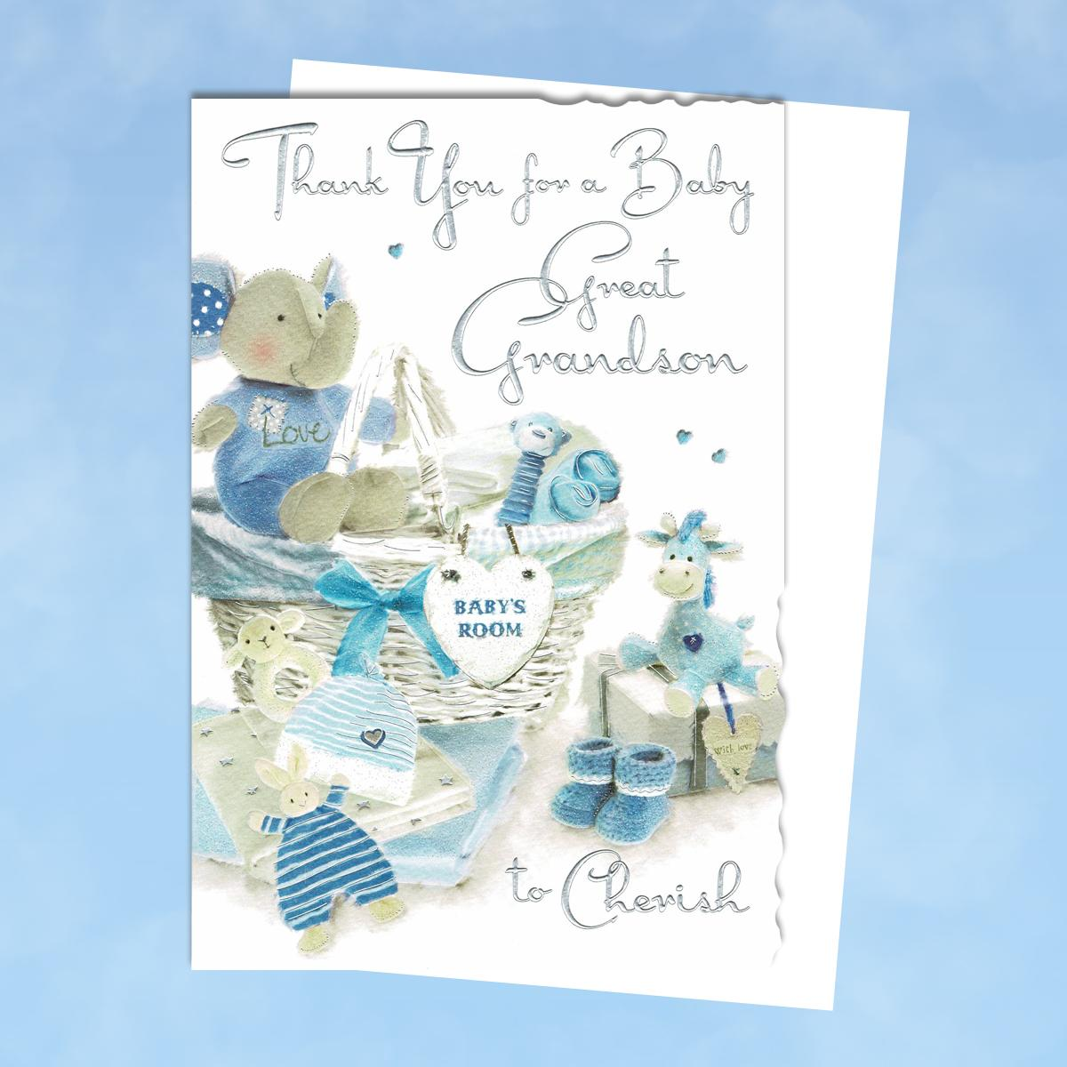 Thank You For Baby Great Grandson Card Alongside Its White Envelope