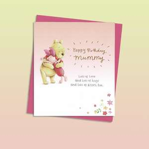 Mummy Winnie The Pooh Birthday Card Alongside Its Magenta Envelope