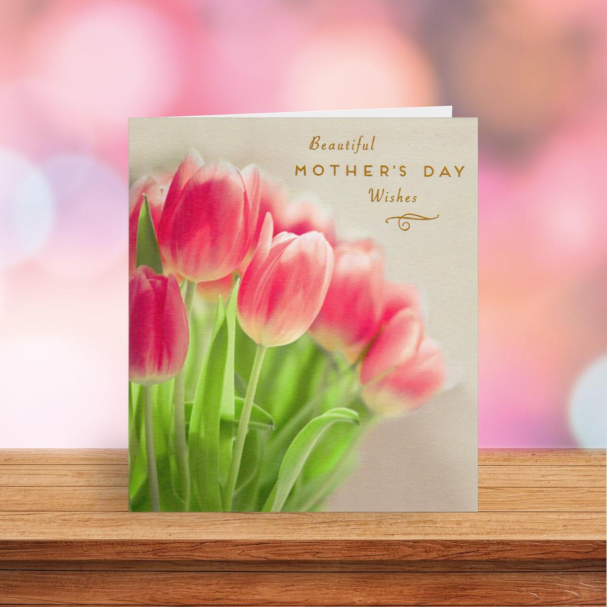 Pink Tulips Mothers Day Card Sitting On A Display Shelf