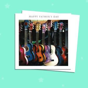 Fathers Day Card Featuring 8 Coloured Guitars Alongside Its Envelope