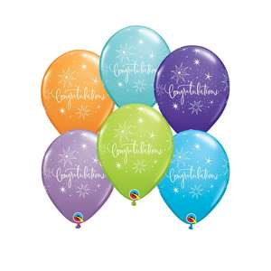 Image Of 6 Multicoloured Congratulations Latex Balloons