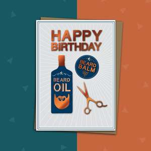 Bottle of Beard Oil, Beard Balm And Pair Of Scissors Make For A Beautiful Male Birthday Card