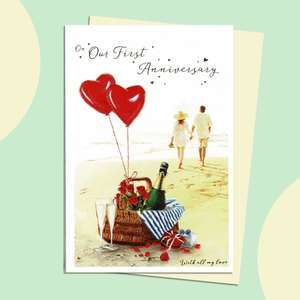 Our 1st Anniversary Card Featuring A Couple Walking On The Beach