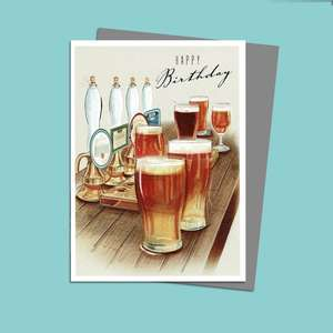 Beer Themed Male Birthday Card Alongside Its Silver Envelope