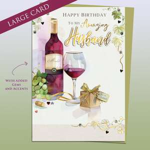 Large Husband Birthday Card Alongside Its Gold Envelope
