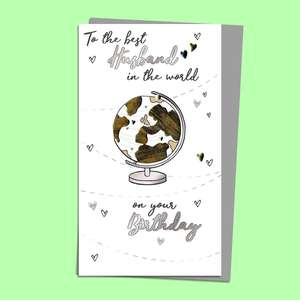 Husband Globe Themed Card Alongside Its Silver Envelope