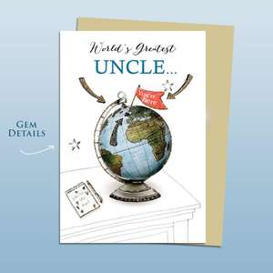 World Greatest Uncle Birthday Card Alongside Its Ivory Envelope