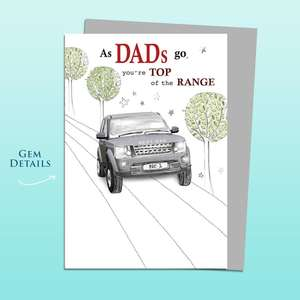 Dad Land Rover Themed Birthday Card Alongside Its Silver Envelope
