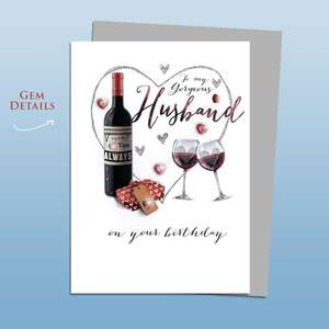 Husband Red Wine Birthday Card Alongside Its Silver Envelope