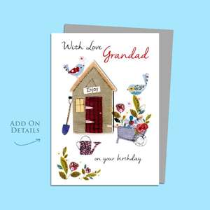 Grandad Garden Shed Birthday Card Alongside Its Silver Envelope
