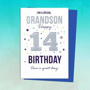 Grandson Age 14 Birthday Card Sitting On A Display Shelf