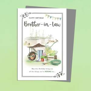 Brother In Law Gardening Scene Birthday Card Featuring A Wheelbarrow, Garden Shed And Plants