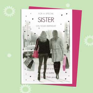 Special Sister Birthday Card Featuring Two Ladies On A Shopping Trip