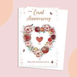 Coral Wedding Anniversary Card Featuring A Heart Made Out Of Coral Coloured Flowers
