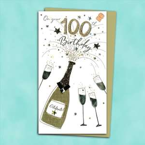 100th Birthday Handmade Card Alongside Its Gold Envelope