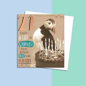 Age 21 Puffin Themed Birthday Card Alongside Its White Envelope