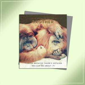 Brother Monkey Themed Birthday Card Alongside Its Silver Envelope