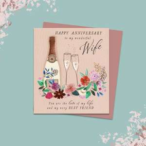 Wife Anniversary Card Alongside Its Rose Gold Envelope