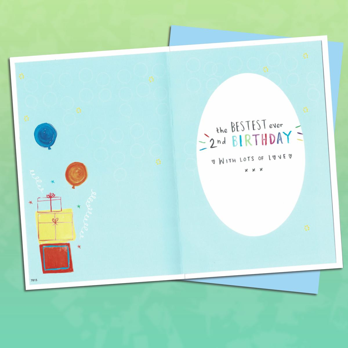 Age 2 Grandson Birthday Card Alongside Its Blue Envelope