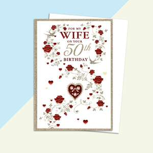 Wife Age 50 Birthday Card Alongside Its White Envelope