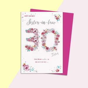 Sister In Law Age 30 Birthday Card Alongside Its Magenta Envelope