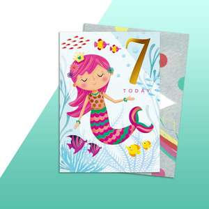 Age 7 Mermaid Themed Birthday Card Alongside Its Rainbow Coloured Envelope