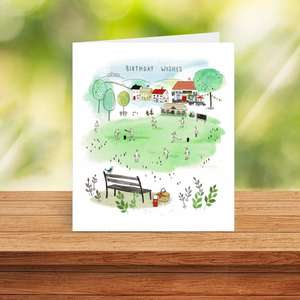 Village Cricket Male Birthday Card Sitting On A Display Shelf