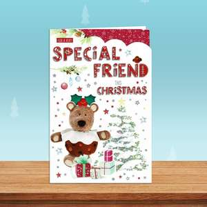 Special Friend Barley Bear Christmas Card Alongside Its Red Envelope