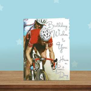 Cycling Themed Birthday Card Alongside Its White Envelope