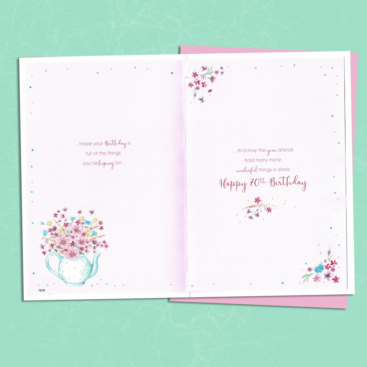 Inside Of Sister Age 70 Birthday Card Showing Layout And Printed Text