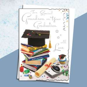 Grandson Graduation Card Alongside Its White Envelope