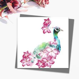 Peacock Themed Blank Card Alongside Its Dark Grey Envelope