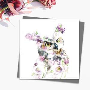 Great Horned Owl Blank Card Alongside Its Dark Grey Envelope