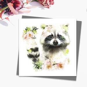Floral Raccoon Blank Card Alongside Its Dark Grey Envelope